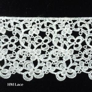 3D花デザインL048の白い水溶性のフランスの綿のギピールレースのレースファブリック
