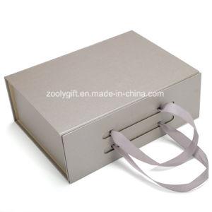 Fermeture magnétique pliable papier carton boîte cadeau avec poignée de ruban