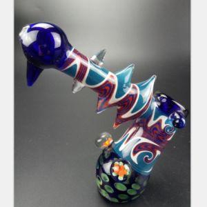 Blaue Tätowierung-Glaswasser-Rohr des Filters Glasrohr aufbereitend