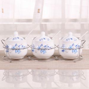 세라믹 향미료는 향미료 단지 조미료 상자 3PCS/Set 부엌 향미료 저장 병 단지 소금 고추 커민 분말 향미료 병을 병에 넣는다