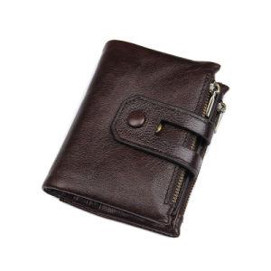 precio de fábrica de regalos empresariales RFID de cuero marrón Estuche de tarjetas de crédito monedero de los hombres de moda