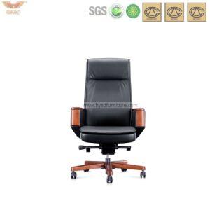 Madera de moda negro silla de cuero de oficina ergonómico