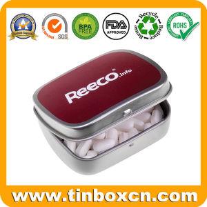 Chicle de menta con bisagras de metal rectangular de latas de dulces Embalaje de regalo