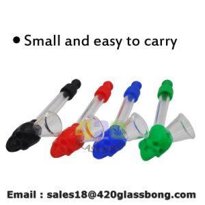 420 Glas-Rohr-Schädel-Silikon Handpipes Glaswasser-Rohr-Silikon-rauchendes Tabak-Rohr