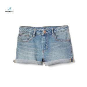 Shorts posteriori del denim rotolati Nostagia di modo per le ragazze dai jeans della mosca