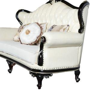 La luz en casa de madera tallada de Lujo Royal Loveseat muebles de cuero (010#)