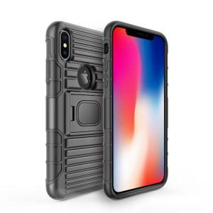 Het dubbele Geval van de Telefoon van het Geval van het Pantser van de Klem van de Riem van de Laag Ruwe Beschermende voor Maximum iPhone Xs/Xr/Xs
