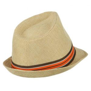 Les jeunes fine bande de ruban de papier Toyo tressé Hat Fedora de bande - Kaki