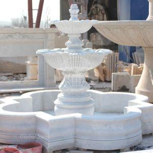 Piedra de granito tallado en mármol blanco, fuente de agua para la decoración de jardín