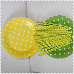 Écologique jaune vert DOT les assiettes de papier pour le parti