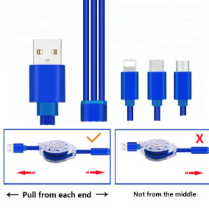 riga ritrattabile cavi della carica del telefono mobile di 5V 2.1A di dati
