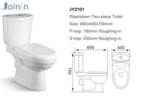 Barato preço Chaozhou Sanitária de banho e WC de duas peças de cerâmica lavabo com P-Trap (JY2101)