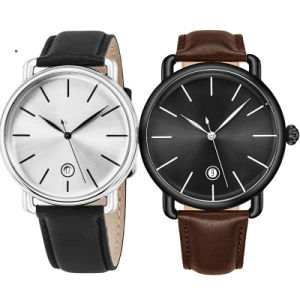 En acier inoxydable d'usine de quartz logo personnalisé de luxe sous étiquette privée unisexe minimaliste OEM noir Femmes Hommes Watch