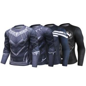 Commerce de gros de vêtements de super-héros Marvel nouvelle conception des hommes Long Sleeve Black Panther Shirt de sport de compression