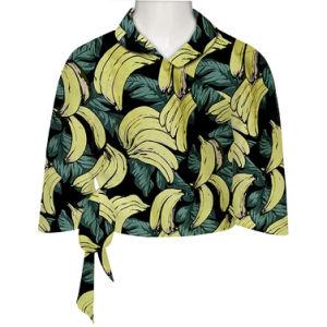 1980 Vintage Novidade Banana Amarela Preta Superior Imprimir Camisola de Verão de algodão