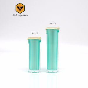 ハイエンド正方形の空気のないびんのクリーム色の瓶のプラスチック化粧品の包装(BB-1-15)