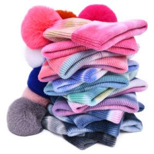 Plain Fake Fur Pom Pom Ski TIE DYE tejer Hat Mujer Invierno Tie-Dye Angora Cachemira tejidos de punto pelo sombreros Beanie