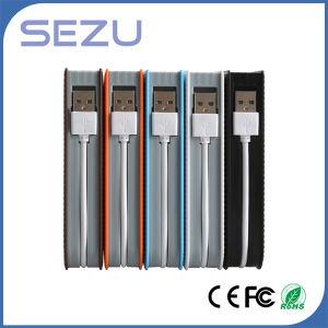 Alta capacidad de 10000mAh la textura de cuero blanco con cable de datos del Banco de potencia portátil Venta caliente!