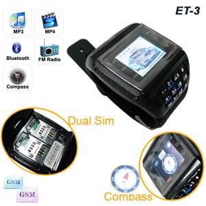Duplo SIM vigilância móvel Telefone /Relógio de pulso Phone (ET-3)