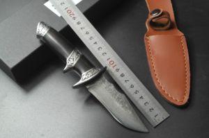 Thundery Cuchilla de acero de Damasco con la cuchilla de ébano cuchillo de caza