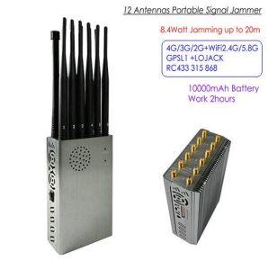 12 Jammer señal portátil de antenas, el total de 8.4watt