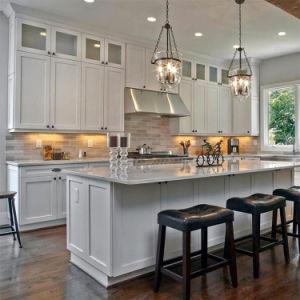 Armario de Cocina de lujo moderno prefabricados estándar americano agitador blanco de madera armarios de cocina con isla de diseño de juegos