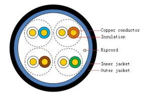 4 Pares simétricos Cabo par trançado UTP Cat5e (HSYVY5e)