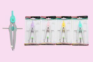 Nova Moda matemática em segurança de plástico colorido Papelaria Bússola para a escola e o Office