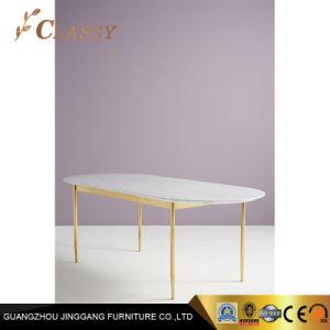 Mesa de comedor de mármol pulido con bastidor y las piernas muebles Restaurante