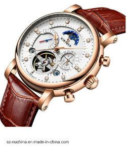 Men′ Vigilanza impermeabile del cronografo dell'acciaio inossidabile con movimento meccanico multifunzionale automatico