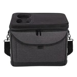 Grande Promotion Sac isotherme noire pique-nique refroidisseur, sac de gestion de repas pour le déjeuner avec tasse
