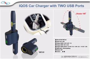 Porta dupla Iqos Car-Mounted Carregador para charuto eletrônico carregador de automóvel com USB 3.0 QC