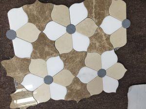 De gemengde Marmeren Tegel van het Mozaïek van de Besnoeiing van de Straal van het Water van het Ontwerp van de Bloem