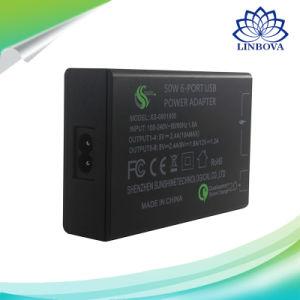 Cargador USB de carga rápida de la estación de 6 puertos USB Adaptador de corriente cargador rápido de la pared para iPhone Samsung Xiaomi LG