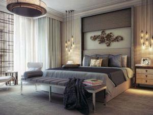 À prova de umidade compensado de madeira estofada Quarto de Hotel apresenta mobiliário - Quarto Duplo