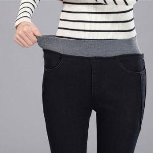 8bcce5930c62e La primavera de los pantalones vaqueros cintura alta de la mujer pantalones  vaqueros cintura elástica negra