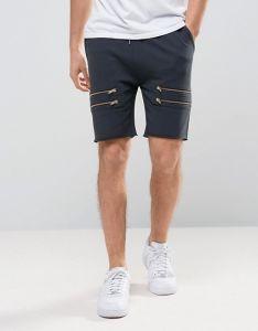 Gli Shorts scarni della Jersey degli uomini con oro chiude con chiusura a lampo