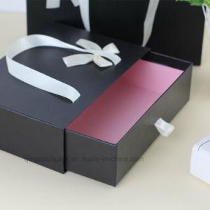 Joyería negro de alta calidad caja de regalo cajon deslizante con asa