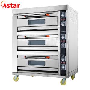 El lujo de la plataforma 3 de 6 bandejas de horno cubierta eléctrica comercial para el equipo de la panadería de cocina