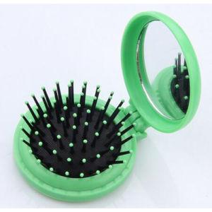 Escova de cabelo dobrável com espelho, pente dobrável de plástico de viagem, Dom promocionais pente e espelho
