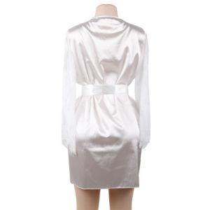 Commerce de gros Plus Size femme mariée blanche dentelle robe de satin