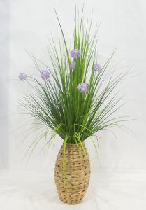 Cebola realista Erva Flores artificiais envasadas de Fábrica - Tecido trançado Cesta
