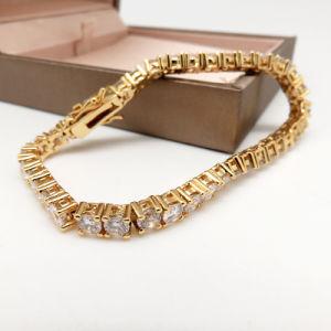 18K 24K de Echte Goud Geplateerde Armband van het Manchet van de Steen van CZ