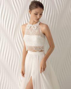 Con reborde de encaje gasa hendidura del lado de una línea nupcial de noche vestido de novia (RS011)