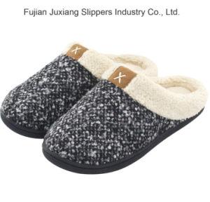 De la mujer de espuma de memoria acogedor zapatillas de felpa Wool-Like difusa casa forrada de Lana Zapatos