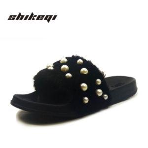 Shikeqi 2018 Новый Стиль моды тапочки дамы слайд благоухающем курорте Логотип мех слайд благоухающем курорте женщин