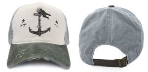 Auditoria BSCI 100% algodão Navio Pirata Ajustável Padrão de âncora angustiados Baseball Tampa de impressão