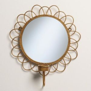 Specchio Sunburst dell'oro fissato al muro con il supporto di candela di Tealight per arte domestica della parete della decorazione