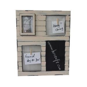A arte de parede de madeira com moldura fotográfica para decoração