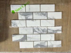 Perfeccionado estatuas Calacatta italiano mosaico de piedra blanca para la Familia Piso de Mármol